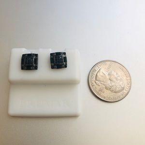 Squared black .925 sterling earrings diamond stud